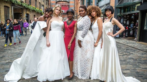 Models in bridalwear and Nova Reid at the Nu Bride show