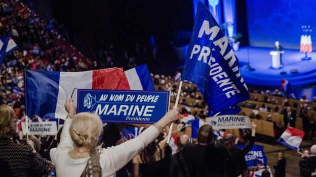 Mitin político de Marine Le Penn