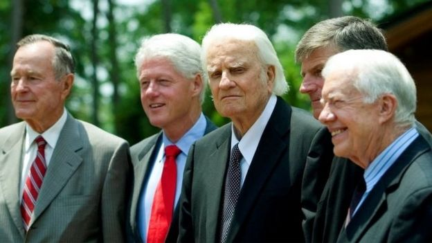 Billy Graham, centre, with l-r George HW Bush, Bill Clinton and Jimmy Carter, 2007