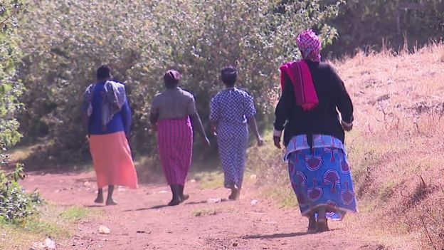 Women walking in Sebei, Uganda