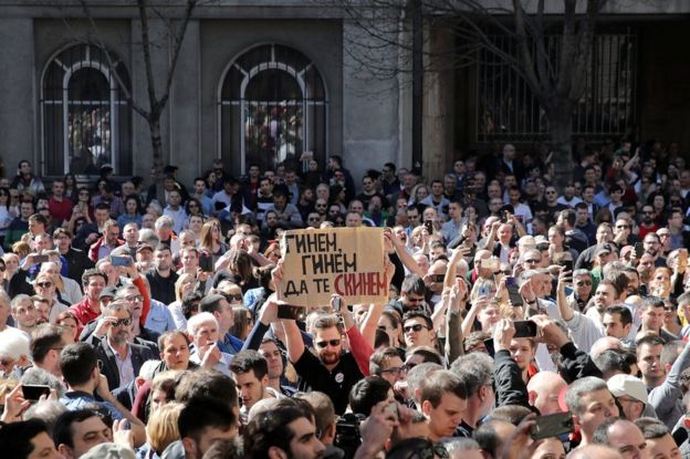 protesters in serbia