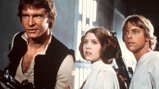 Harrison Ford, Carrie Fisher y Mark Hamill en la película original de Star Wars