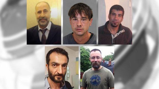 De izquierda a derecha y en el sentido de las manecillas del reloj: Majeed Kayhan, Dean Lisowick, Soroush Marmudi, Selim Esen, Andrew Kinsman