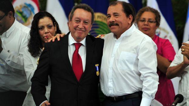Vinicio Cerezo y Daniel Ortega