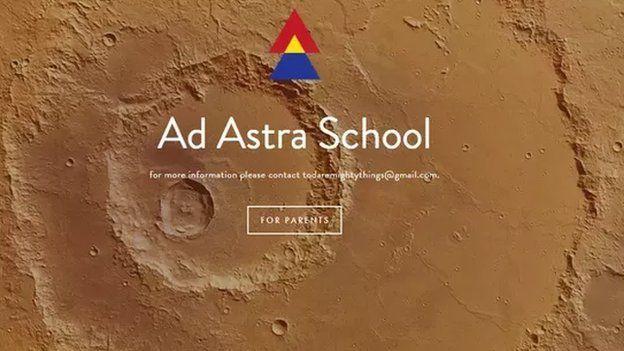Propaganda da escola Ad Astra na internet