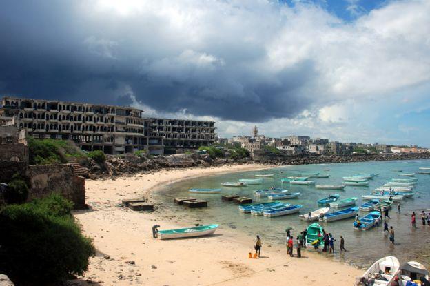 Fishermen on the beach in Mogadishu
