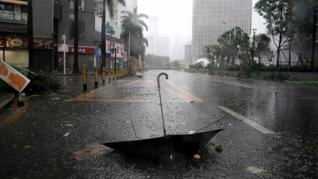 An upturned umbrella amid a typhoon in Guangdong province, China