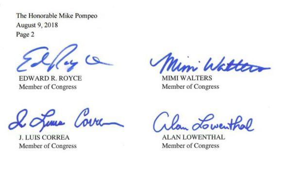 Lá thư gửi cho Ngoại trưởng Mike Pompeop có chữ ký của bốn vị dân biểu