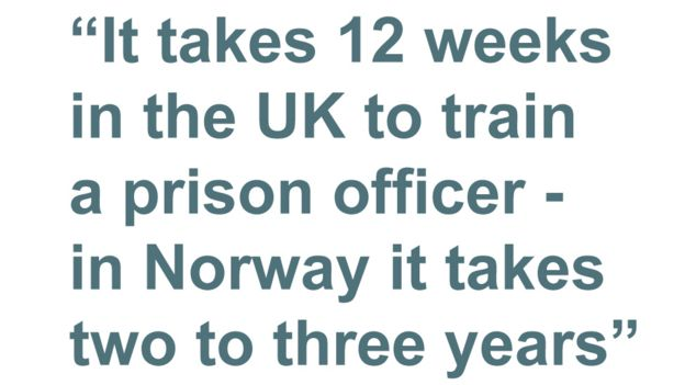 Quotebox: It takes 12 weeks in the UK to train a prison officer - in Norway it takes two to three years