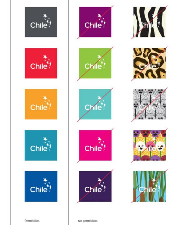 Colores permitidos y no permitidos de la marca de Chile.