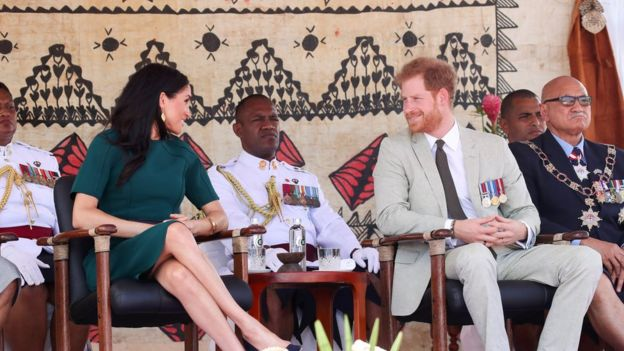 Britains Prince Harry and Meghan, Duchess of Sussex, in Nadi, Fiji