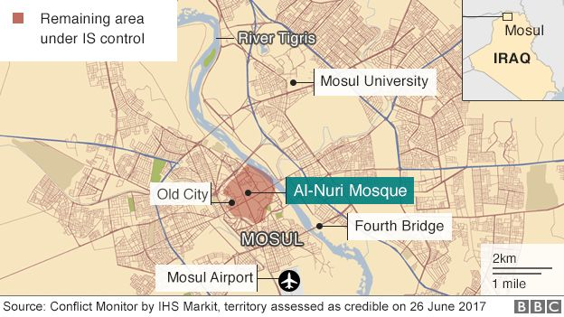 Map showing area of northern Iraqi city of Mosul still controlled by so-called Islamic State