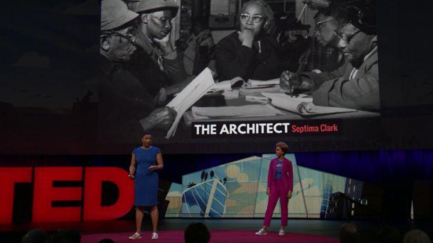 T. Morgan Dixon y Vanessa Garrison en su charla TedTalk de 2018.