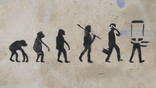 Secuencia de evolución humana.