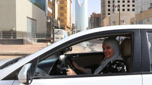 A woman in Saudi Arabia driving