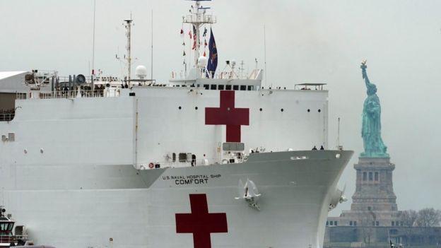 Buque hospital naval USNS Comfort enviado a Nueva York por coronavirus.