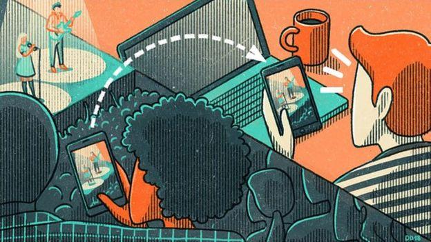 Ilustração de casal usando smartphone