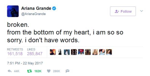 Mensaje de Ariana Grande en Twitter