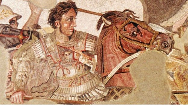 A mosaic from Naples depicting Alexander the Great in battle