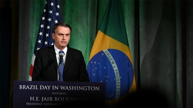 Jair Bolsonaro en un discurso en Washington
