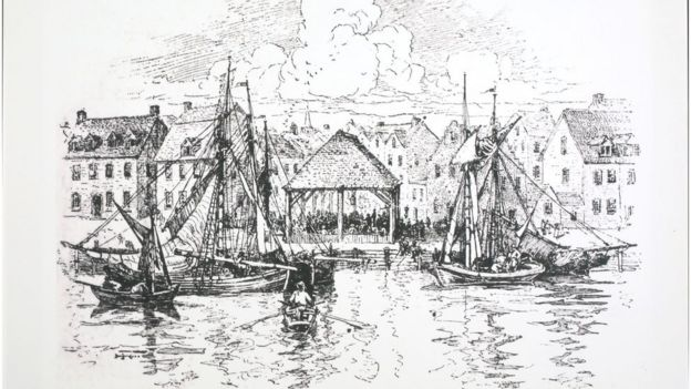 Desenho de mercado de escravos em Nova York, 1730