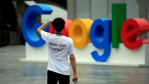 A Google sign is seen during the WAIC (World Artificial Intelligence Conference) in Shanghai, China, September 17, 2018.