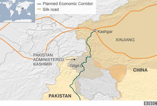 Map showing Kashgar and Gilgit