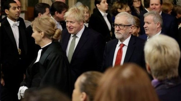 Boris Johnson and Jeremy Corbyn walking to the House of Lords