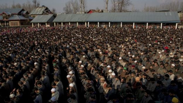 Kashmiri villagers offer funeral prayers near the bodies of suspect militants during their joint funeral procession near Frisal, 66km (40 miles) south of Srinagar (12 February 2017)