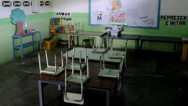 Un aula de una escuela en Venezuela.