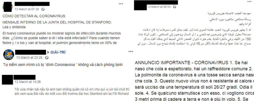 Reprodução do post em diferentes idiomas