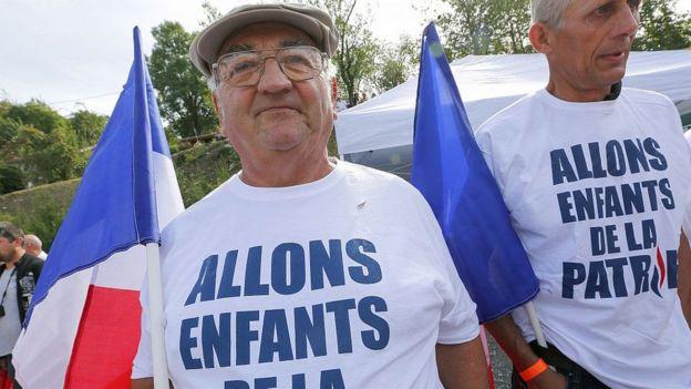 Simpatizantes del Frente Nacional en Francia