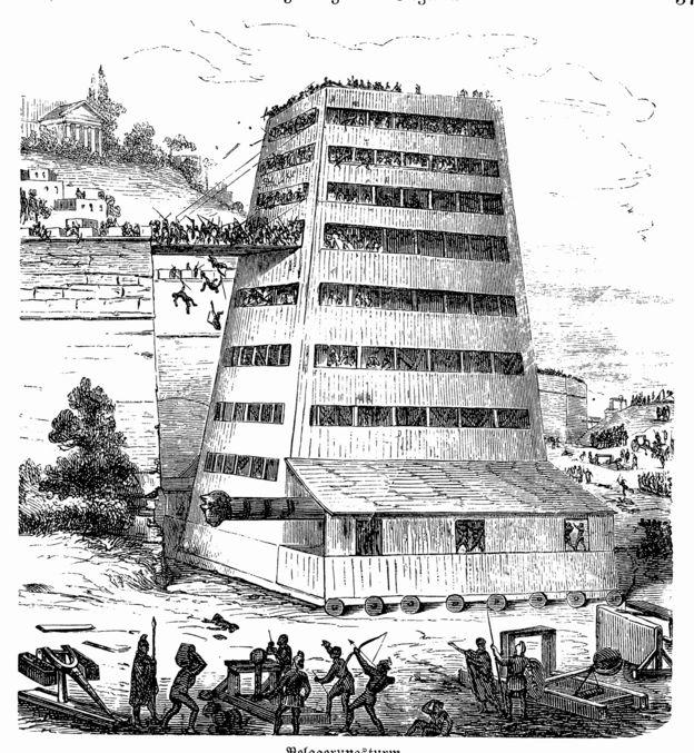 Grabado de una torre de asedio romana.
