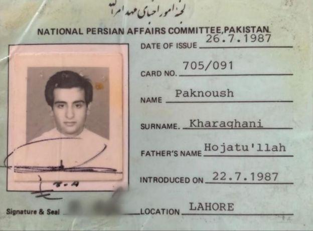 Identidade Bahá'í de Paknoosh Kharaghani, iraniano que fugiu da guerra Irã-Iraque e de perseguição religiosa. Hoje, ele mora no Brasil