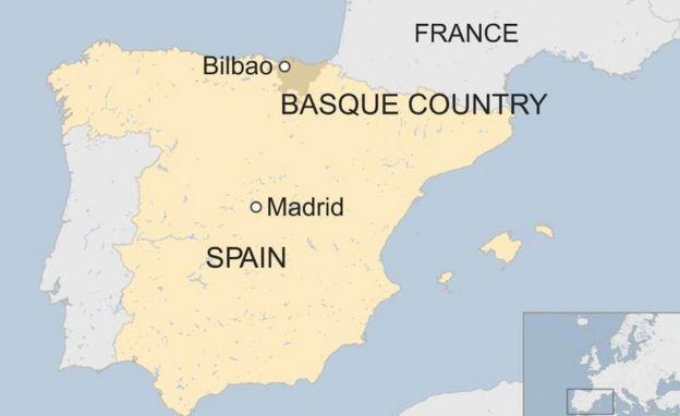 Spain map including Basque region