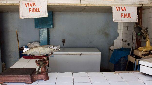 Un centro de distribución de alimentos en Cuba