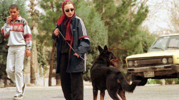امرأة مع كلبها في طهران