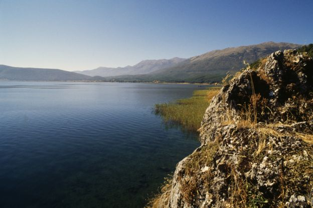 Lake Prespa lies on the border of Greece, North Macedonia and Albania