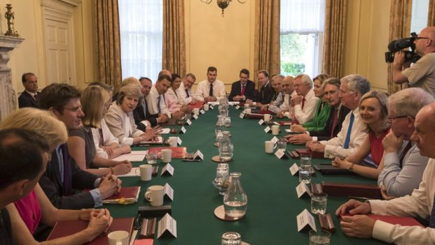 A photo of May's first government cabinet.
