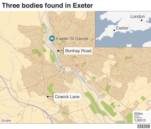 Map Of Uk Exeter.Exeter Murder Probe After Three Men In 80s Found Dead Bbc News
