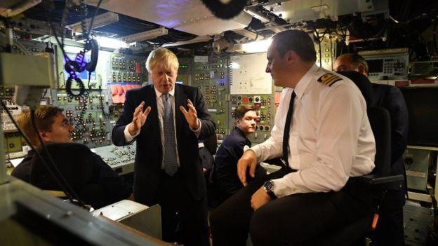 Boris Johnson on a submarine