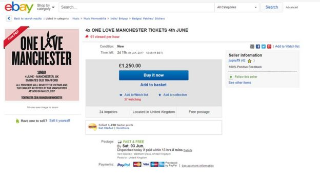 One love manchester ticketmaster asks fans for patience bbc news ebay auction of one love manchester tickets m4hsunfo