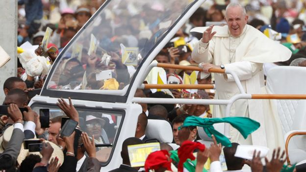 Pope waving at crowd in Madagascar
