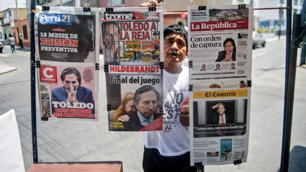 Newspapers with the portrait of former Peruvian President (2001-2006) Alejandro Toledo on their front pages, are displayed for sale in Lima on 10 February