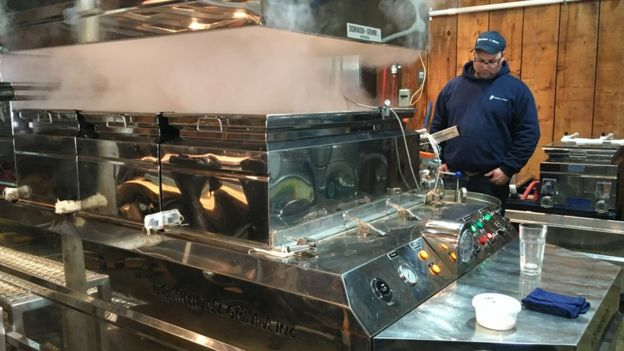 df9009ff510 Maple sap being turned into syrup at the Au Pied de Cochon Sugar Shack