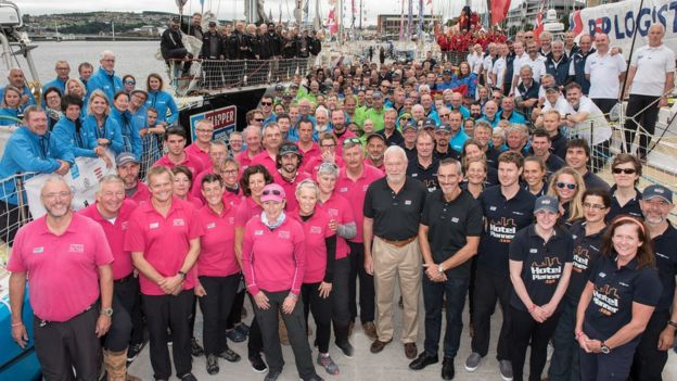 combined crews of the Clipper Round the World Yacht Race at Derry-Londonderry, before departing on the final leg which ends in Liverpool