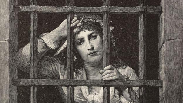 Ilustración de Charlotte Corday en prisión, tras su arresto.
