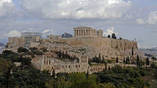 El antiguo templo del Partenón.
