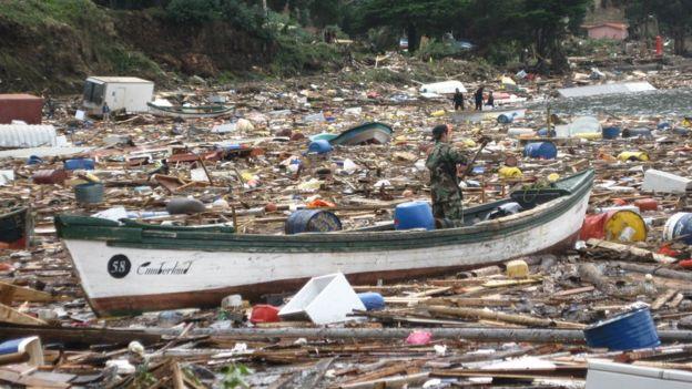 Isla Juan Fernández tras el tsunami.