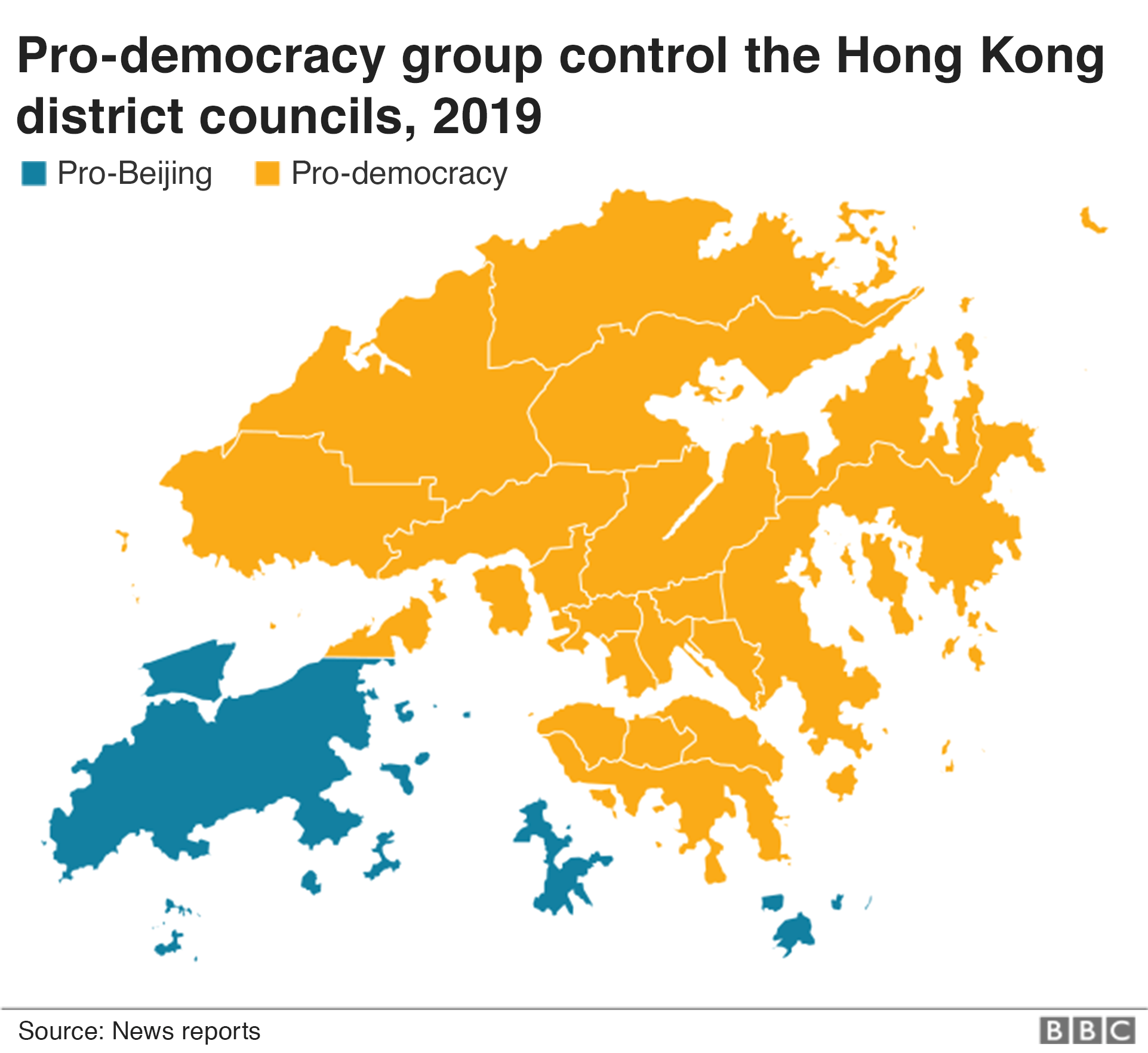 A map shows control of the district councils in 2019
